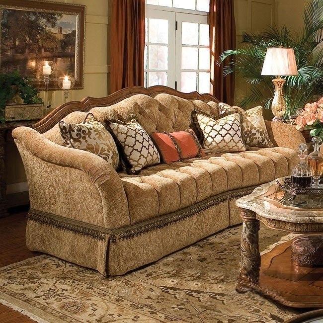 Magnificent Villa Valencia Wood Trim Tufted Sofa Inzonedesignstudio Interior Chair Design Inzonedesignstudiocom