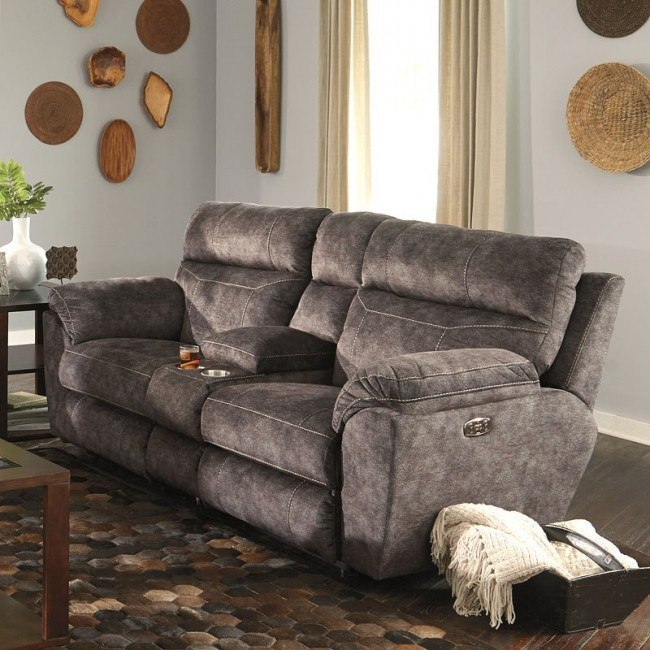 Amazing Sedona Power Lay Flat Reclining Console Loveseat W Power Headrest And Lumbar Smoke Dailytribune Chair Design For Home Dailytribuneorg
