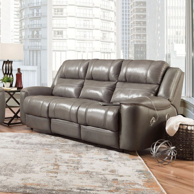 Groovy Huxley Dual Power Reclining Sofa W Usb Vienna Harbor Gray Gmtry Best Dining Table And Chair Ideas Images Gmtryco