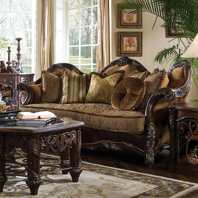 essex manor wood trim sofa aico furniture  furniture cart
