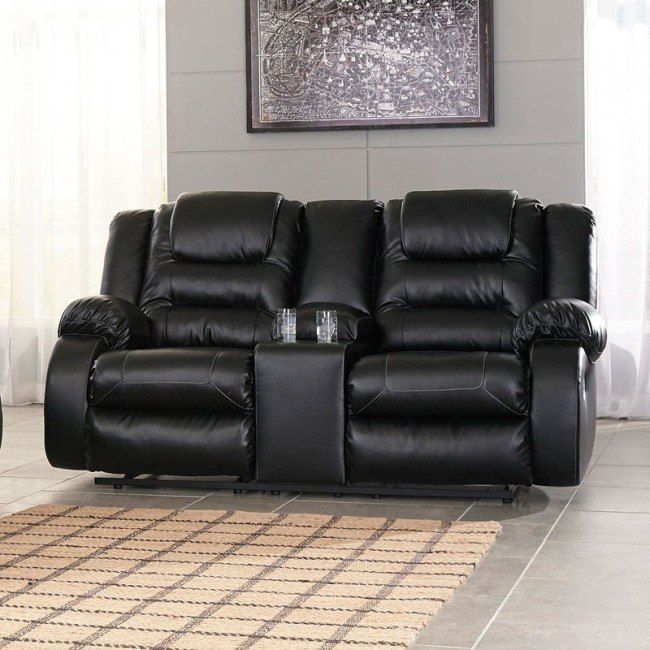Astonishing Vacherie Black Double Reclining Loveseat W Console Caraccident5 Cool Chair Designs And Ideas Caraccident5Info