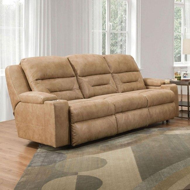 Marvelous Beacon Power Lumbar Reclining Sofa Corral Caramel Beatyapartments Chair Design Images Beatyapartmentscom