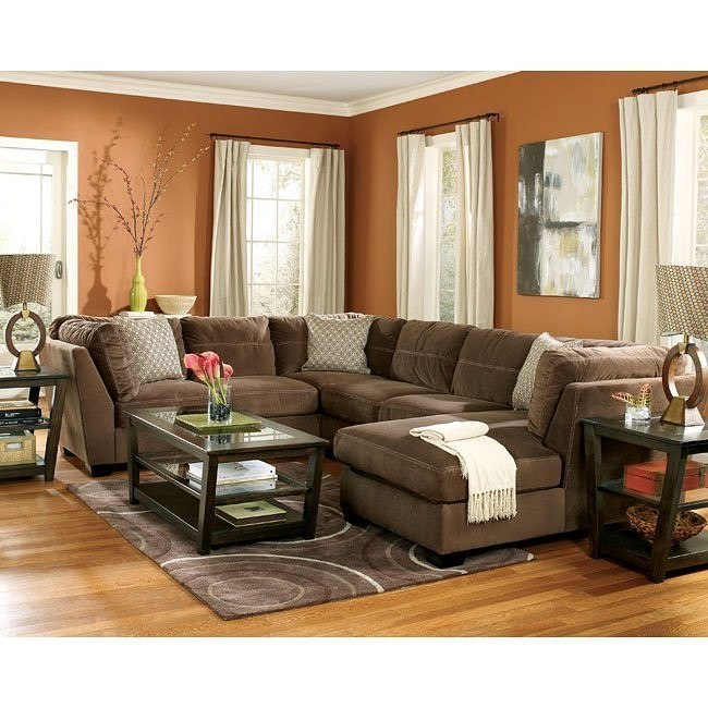 Peyton Espresso Sectional Living Room Set