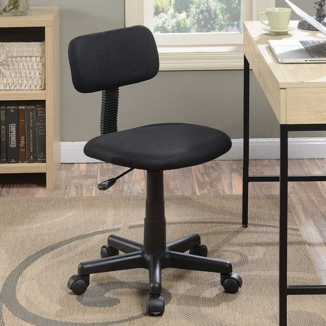 Black Fabric Office Chair Without Armrests