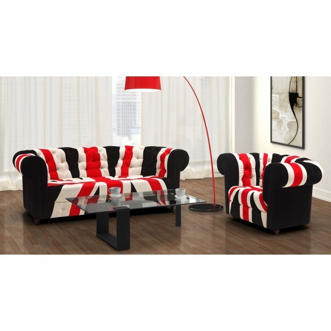 Union Jack Living Room Set (Red, White and Black)