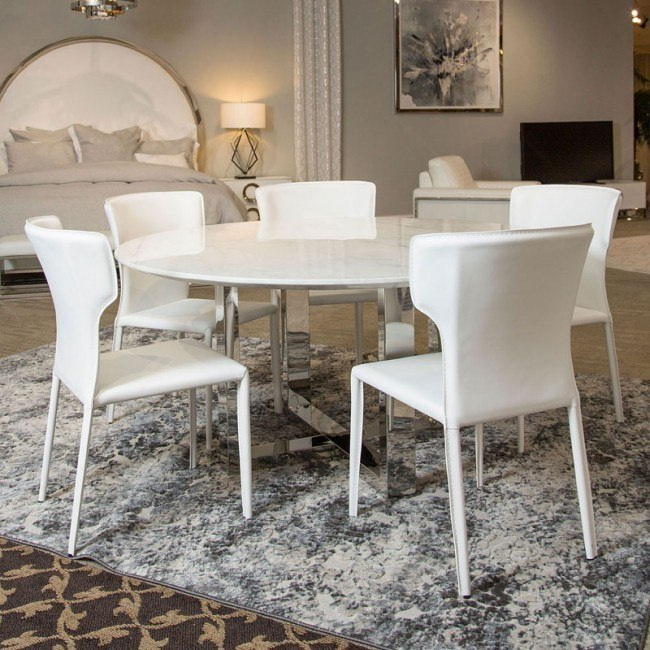 Halo Round Marble Top Dining Room Set