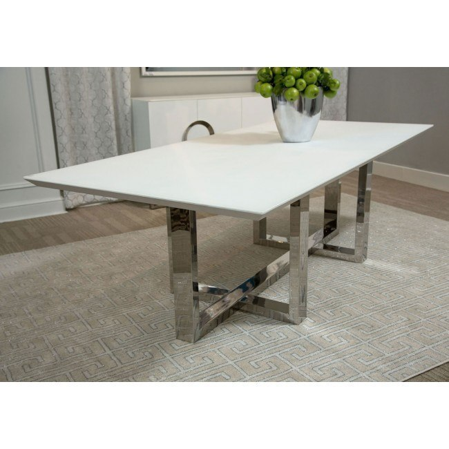 Halo Rectangular Glass Top Dining Table Aico Furniture Furniture Cart