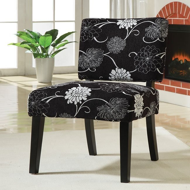 Accent Chair (Black/White Floral)