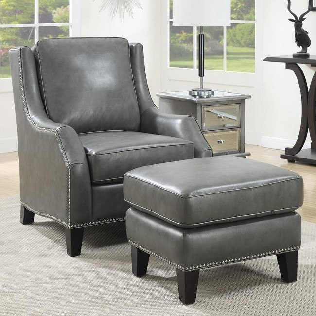 Incredible Grey Accent Chair W Ottoman Caraccident5 Cool Chair Designs And Ideas Caraccident5Info