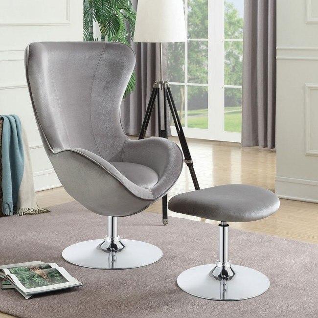 Fabulous Grey Velvet Accent Chair W Ottoman Ncnpc Chair Design For Home Ncnpcorg