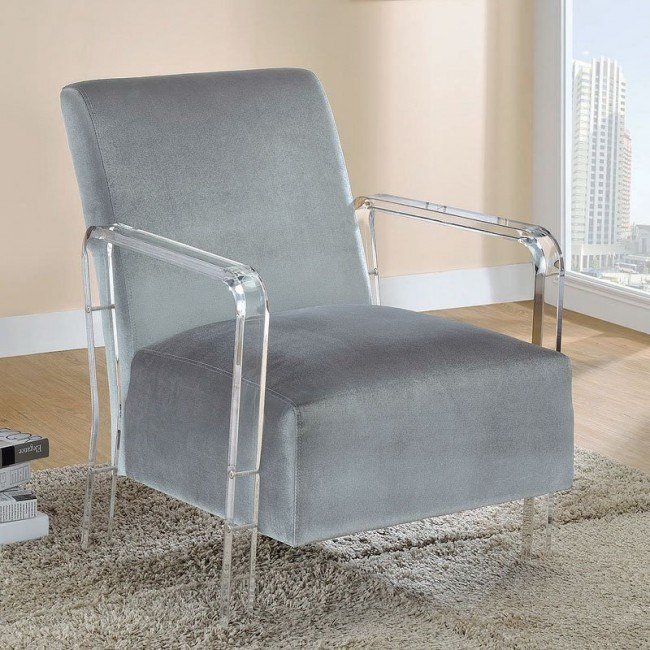 Amazing Grey Accent Chair W Acrylic Arms Caraccident5 Cool Chair Designs And Ideas Caraccident5Info