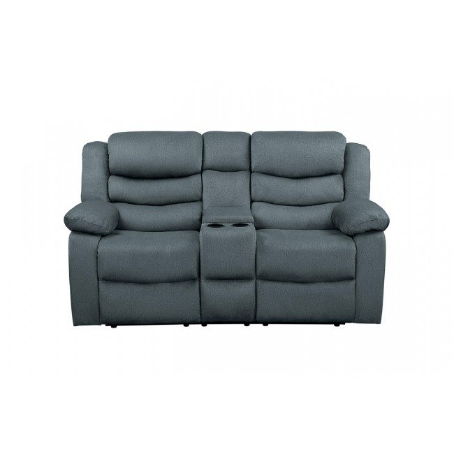 Amazing Discus Reclining Loveseat W Console Gray Ocoug Best Dining Table And Chair Ideas Images Ocougorg