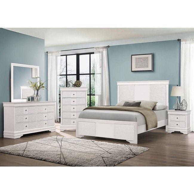 Wave White Panel Bedroom Set