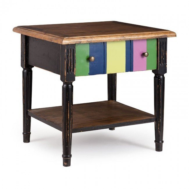 Holloway Side Table Natural Top Distressed Black And Multicolor Frame