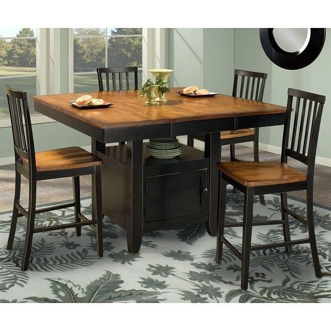 Arlington Counter Height Dining Set W Storage Table Black Java Intercon Furniture Furniture Cart