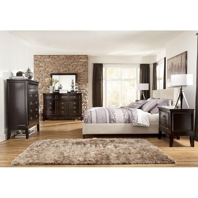 Martini Suite Bedroom Set w/ Light Beige Upholstered Bed