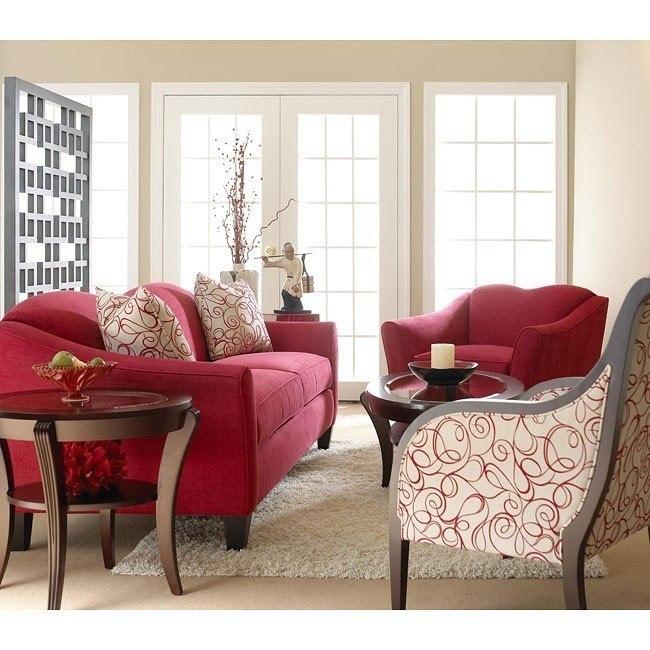 Kris Living Room Set Cinnabar Klaussner Furniture Cart