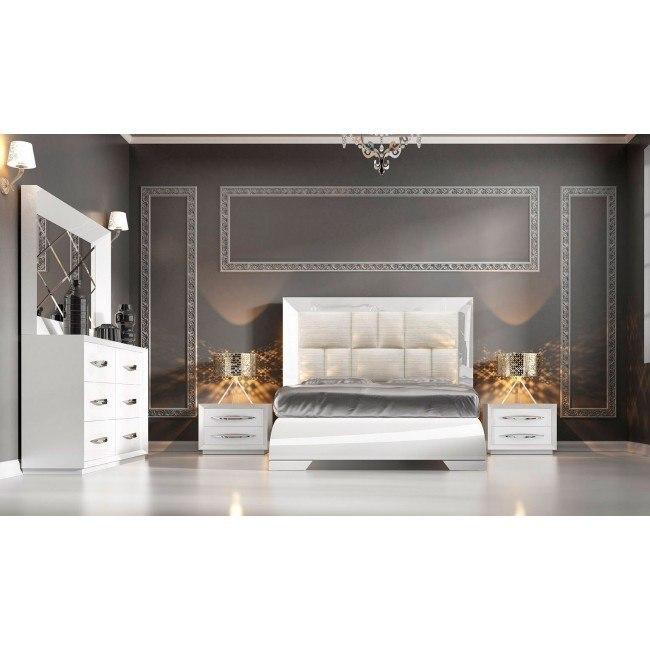 Carmen Platform Bedroom Set (White)