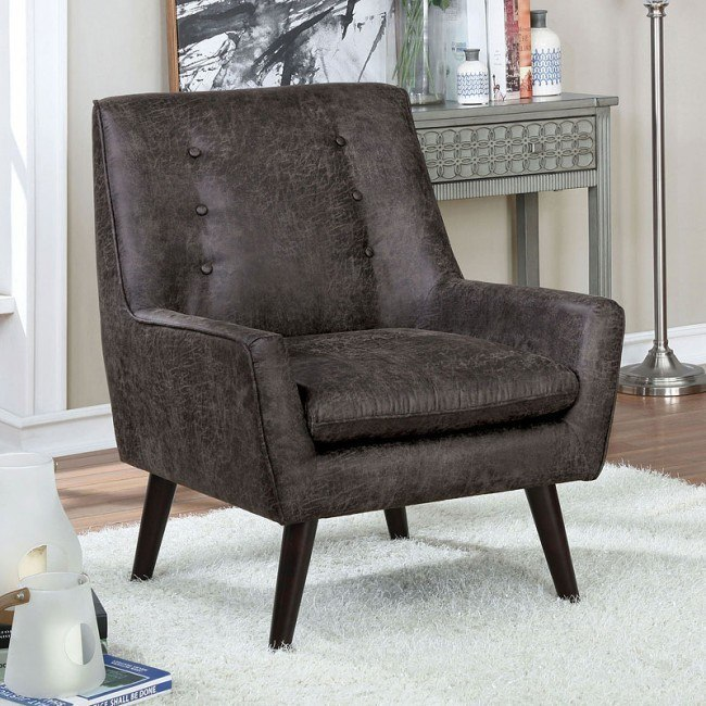 Pleasing Ellery Accent Chair Gray Leatherette Gmtry Best Dining Table And Chair Ideas Images Gmtryco
