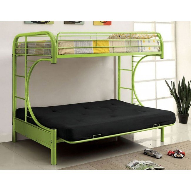 Rainbow Twin Over Futon Bunk Bed Green