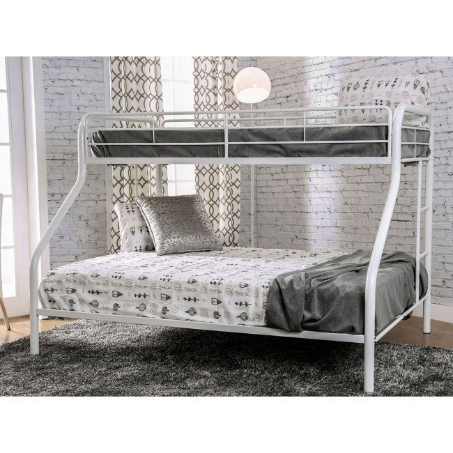 Rainbow Twin Over Queen Bunk Bed White Furniture Of America Furniture Cart