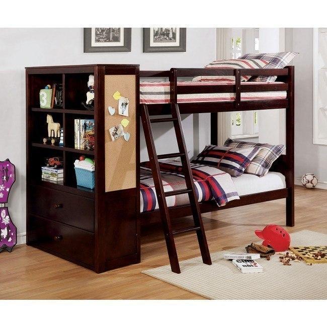 Athena Twin Over Bunk Bed W Bookcase Dark Walnut