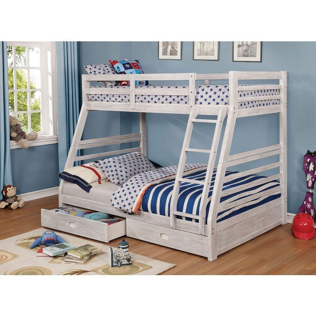 California Iv Twin Over Full Bunk Bed W 2 Drawers Brushed White Furniture Of America Furniture Cart