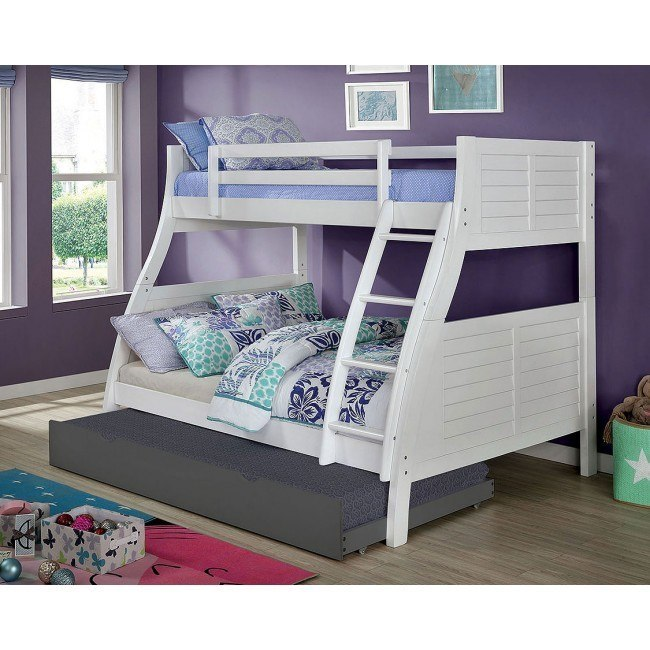 Hoople Twin Over Full Bunk Bed White Furniture Of America Furniture Cart