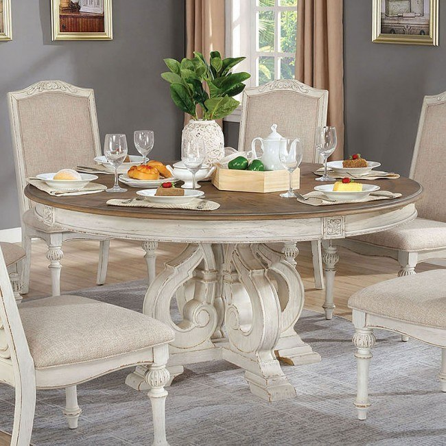 Arcadia Round Dining Table Antique White Furniture Of America Furniture Cart