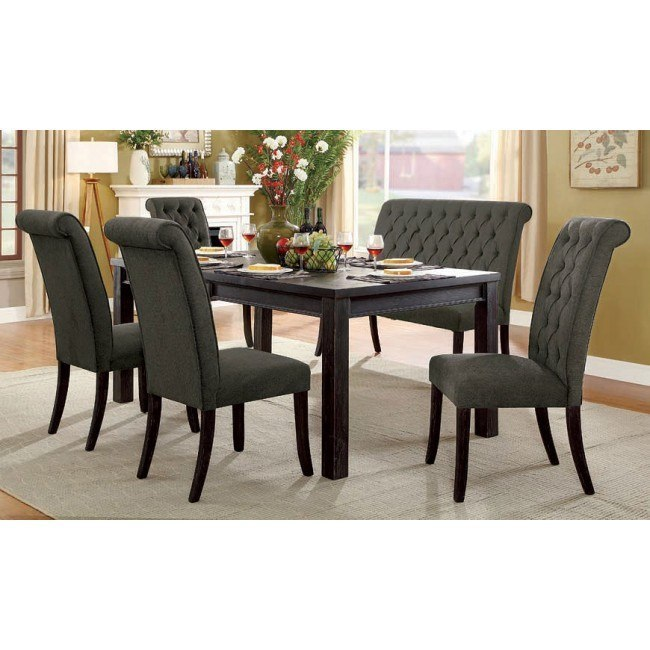 Pleasant Sania Iii 72 Inch Dining Room Set W Gray Chairs And Bench Pabps2019 Chair Design Images Pabps2019Com