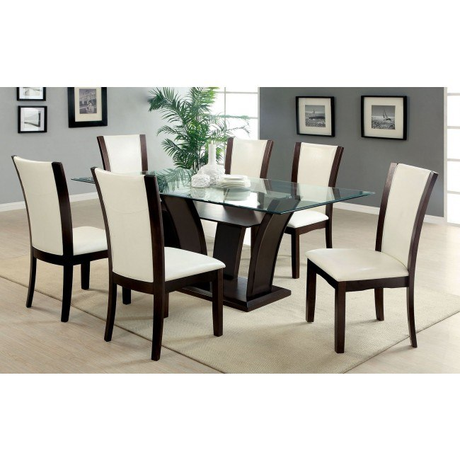Awe Inspiring Manhattan I Dark Cherry Dining Set W White Chairs Caraccident5 Cool Chair Designs And Ideas Caraccident5Info