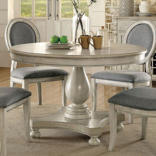 Round Dining Table Antique White