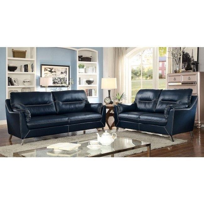 Nichola Living Room Set Dark Blue