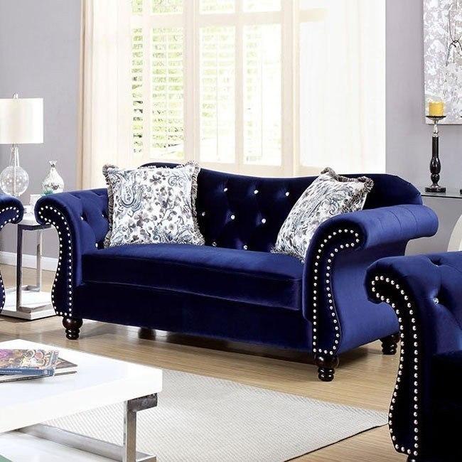 Jolanda Loveseat Blue Furniture Of America 2 Reviews Furniture Cart