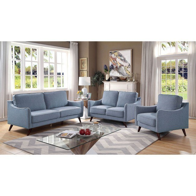 Maxime Living Room Set Light Blue Furniture Of America Furniture Cart