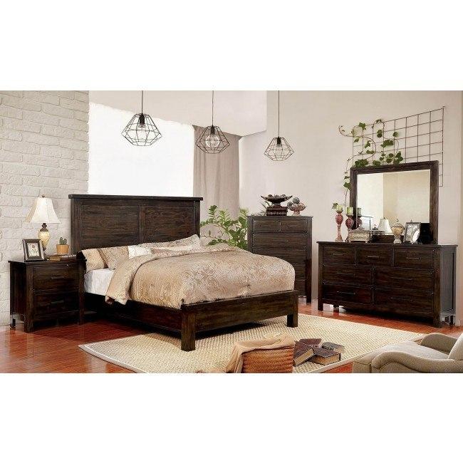 Canopus Panel Bedroom Set (Dark Walnut) Furniture Of America ...