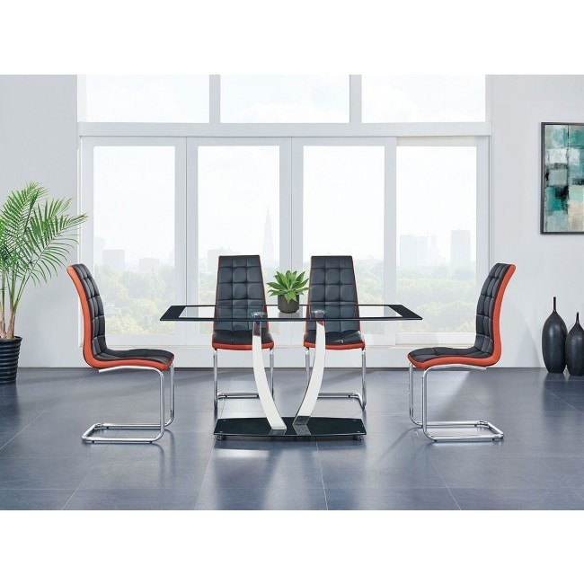 D716 Dining Room Set w/ Black and Red Chairs