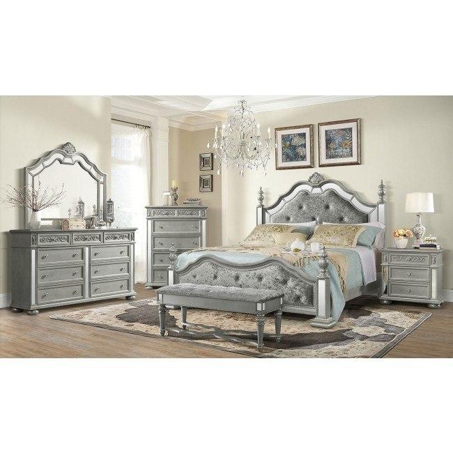 Diana Poster Bedroom Set Silver Global Furniture Furniture Cart