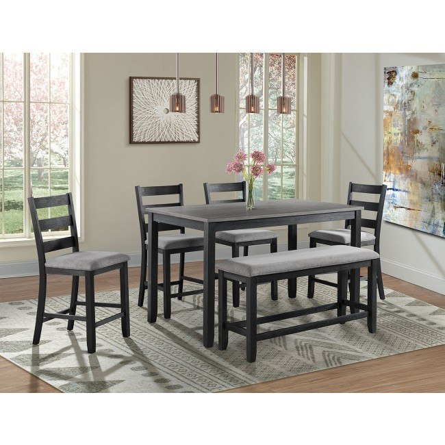 Martin 6-Piece Counter Height Dining Room Set (Grey/ Black)