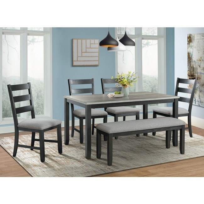 Martin 6-Piece Dining Room Set (Grey/ Black)