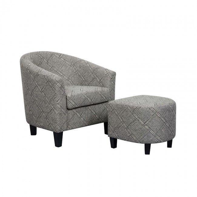 Fantastic Small Space Barrel Chair W Ottoman Black White Machost Co Dining Chair Design Ideas Machostcouk