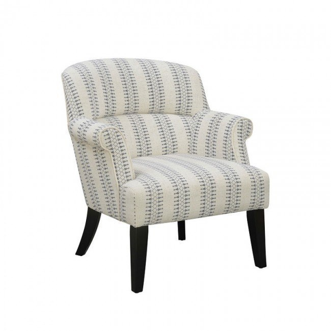 Small Space Roll Arm Accent Chair (Cream/ Blue) Accentrics Home