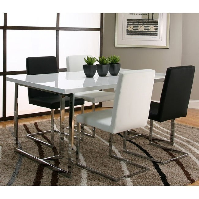 Spica Dining Room Set w/ White and Black Chairs