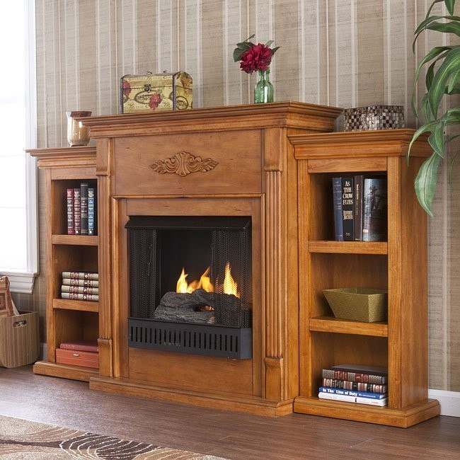 Tennyson Plantation Oak Gel Fuel Fireplace W Bookcases Southern