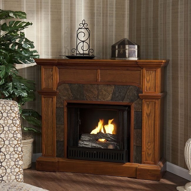 Cartwright Mission Oak Convertible Slate Gel Fuel Fireplace