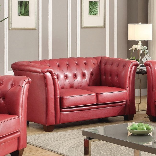 Remarkable G329 Tufted Loveseat Red Evergreenethics Interior Chair Design Evergreenethicsorg
