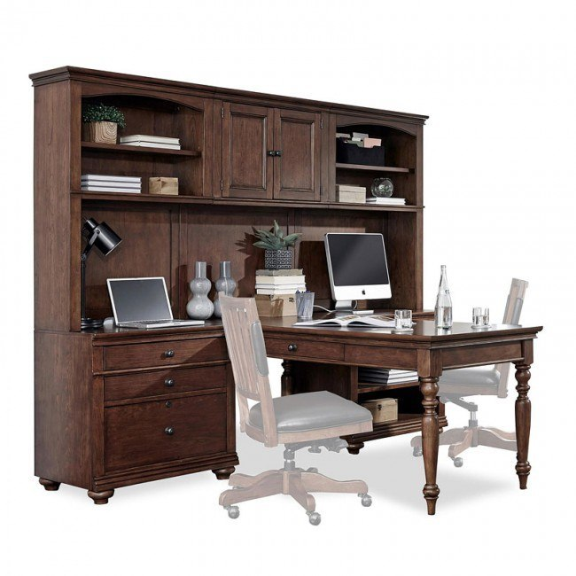 Oxford Modular Office Desk Wall Whiskey Brown Aspenhome 1