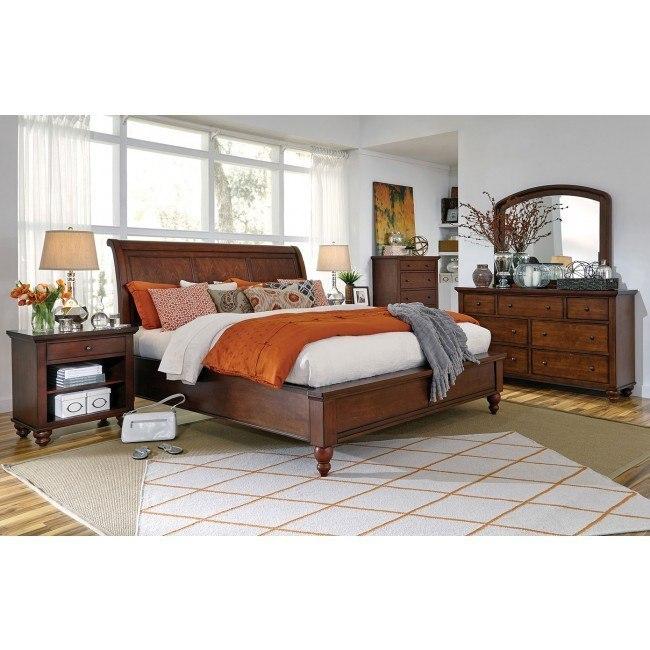 Cambridge Sleigh Bedroom Set Brown Cherry Aspenhome