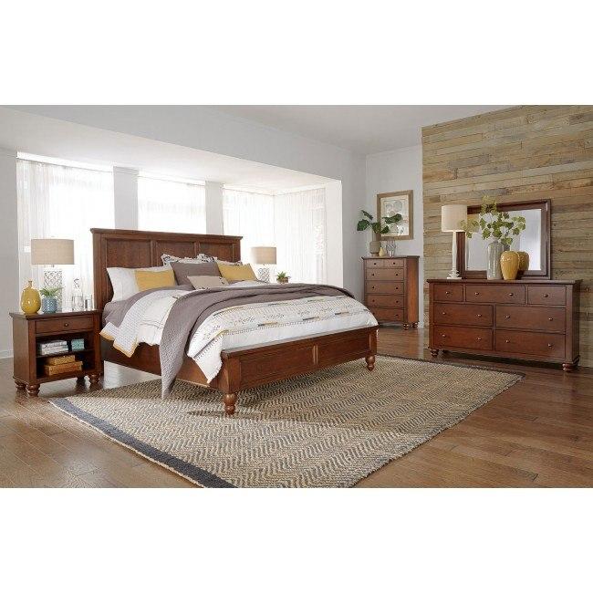 Cambridge Flat Panel Bedroom Set Brown Cherry Aspenhome