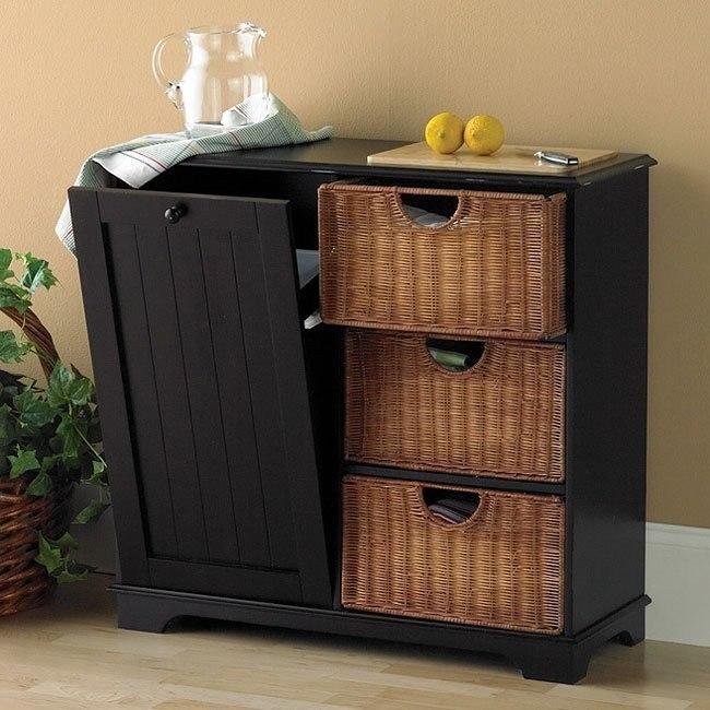 Trash Bin Storage Table Black